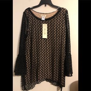 NWT Brittany Black Crochet Overlay Lined Top Small